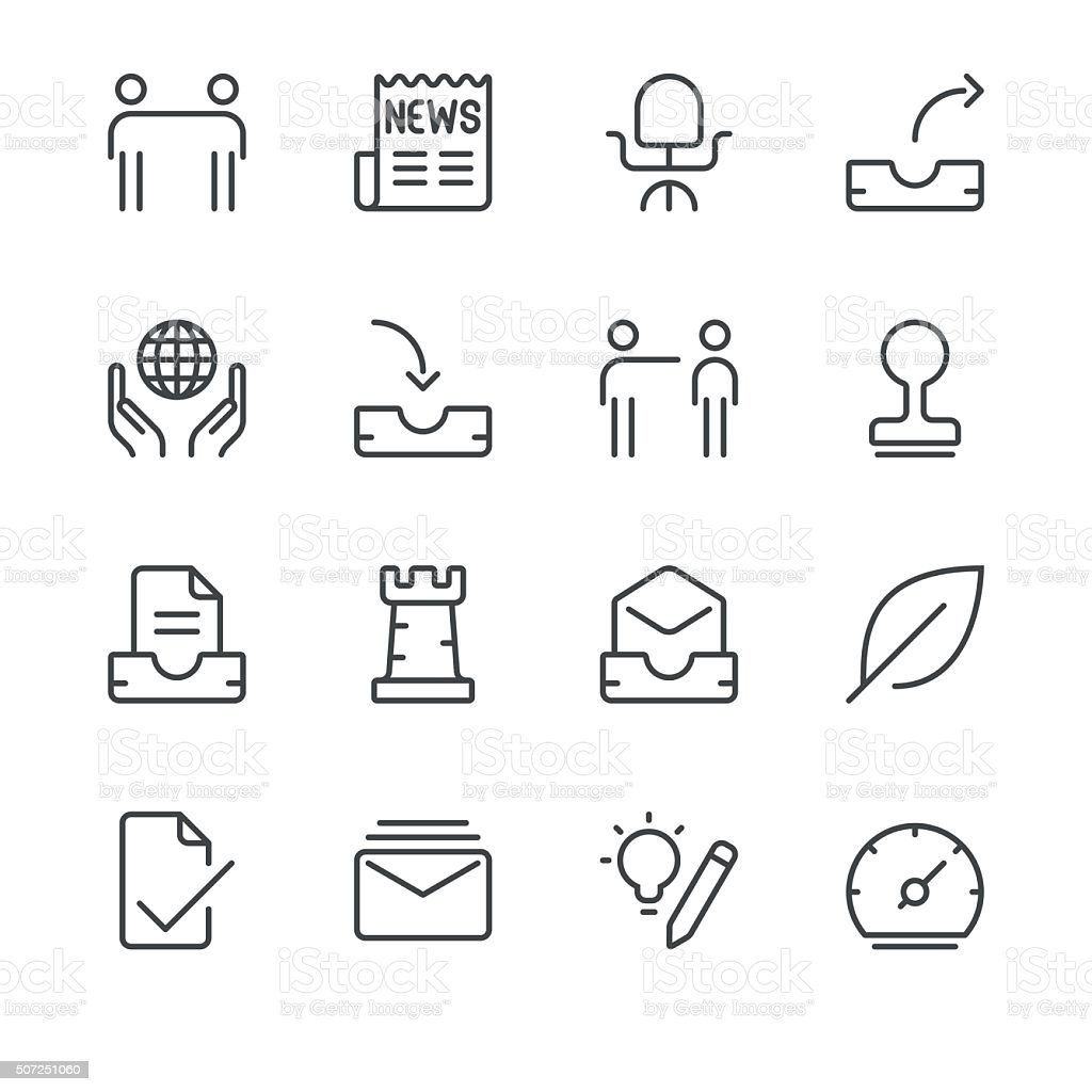 Business Icons set 5   Black Line series vector art illustration