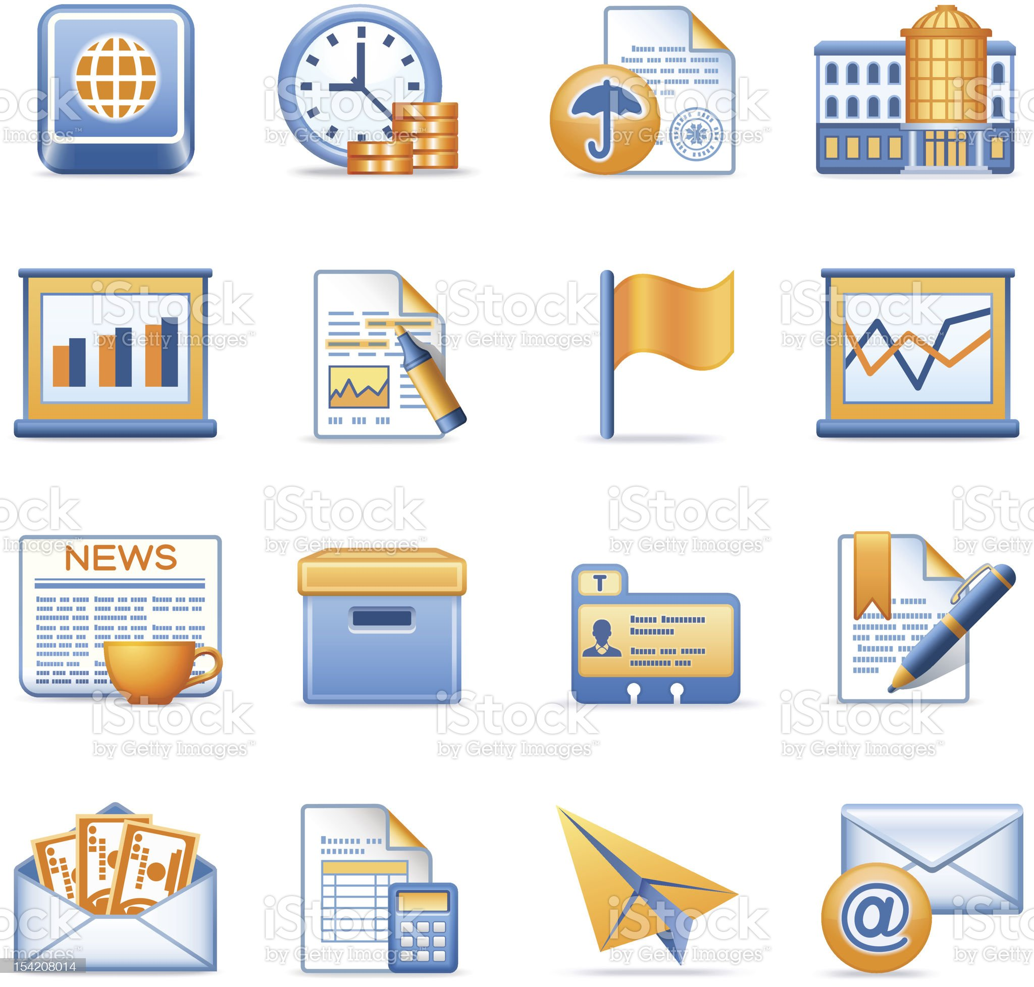 Business icons set 5. Blue orange series. royalty-free stock vector art