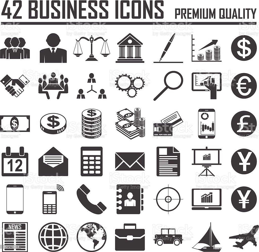 42 Business icons set. Premium Quality vector art illustration