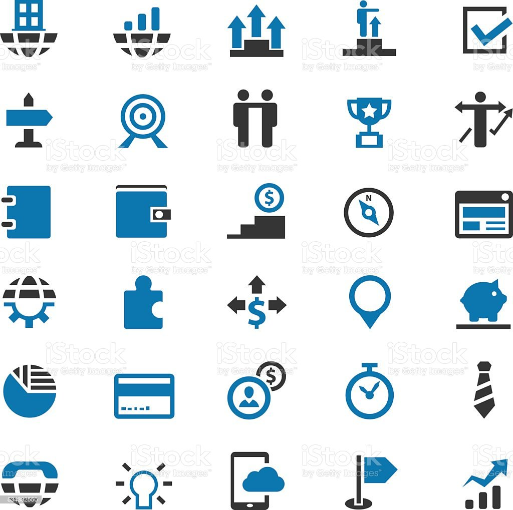 Business icons set vector art illustration