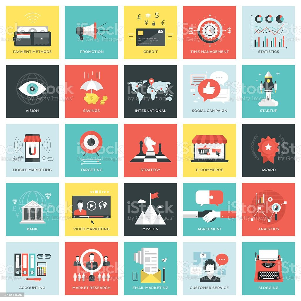 Business icons squares vector art illustration