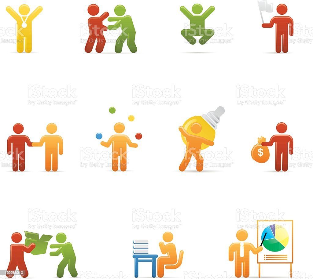 Business icons using colorful figures vector art illustration