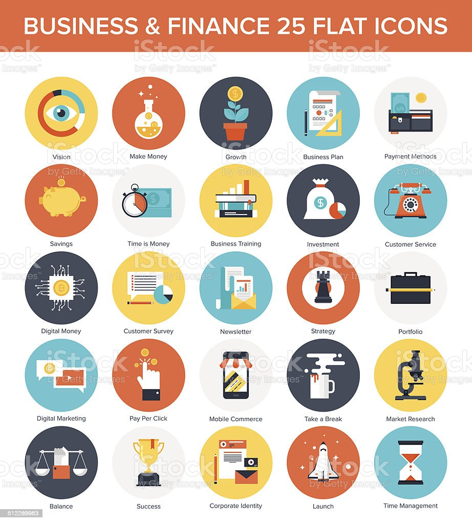 Business Icons. vector art illustration