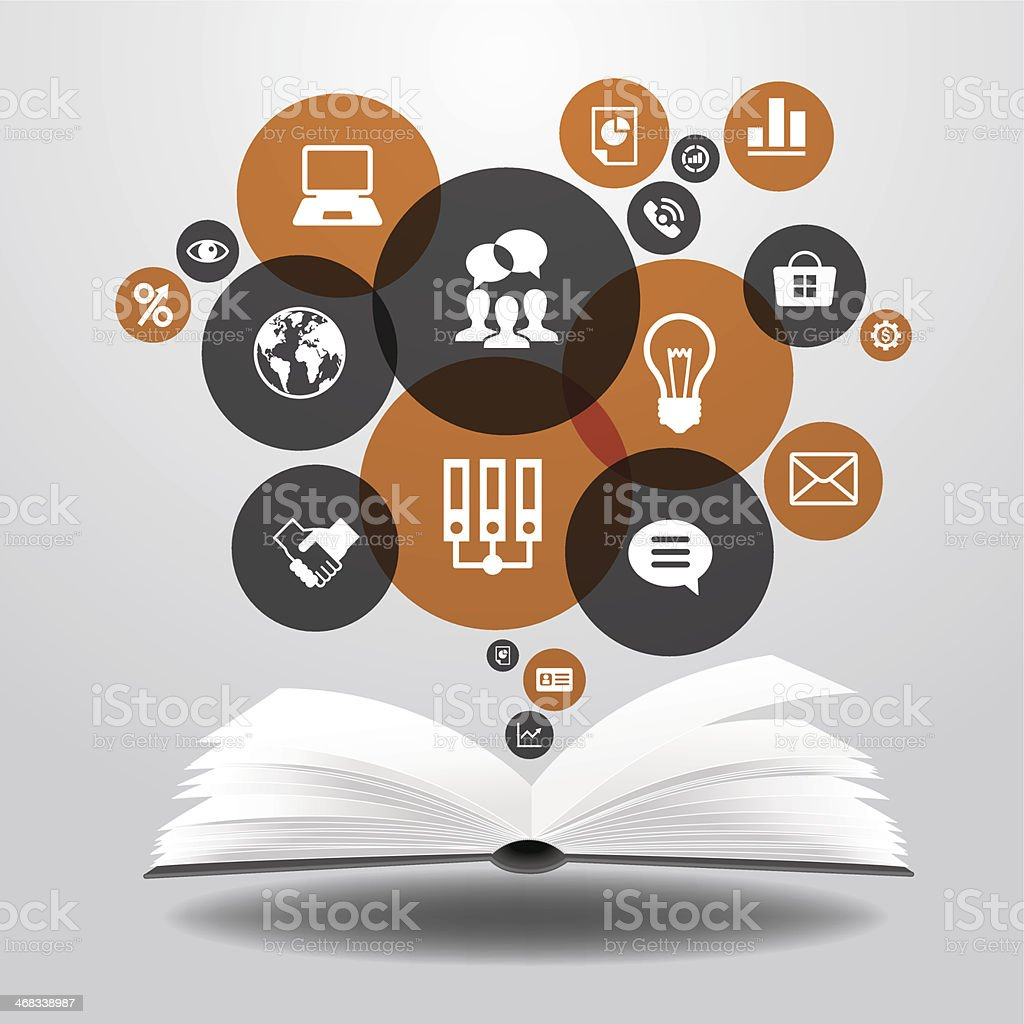 Business icons will take off from an open book vector art illustration