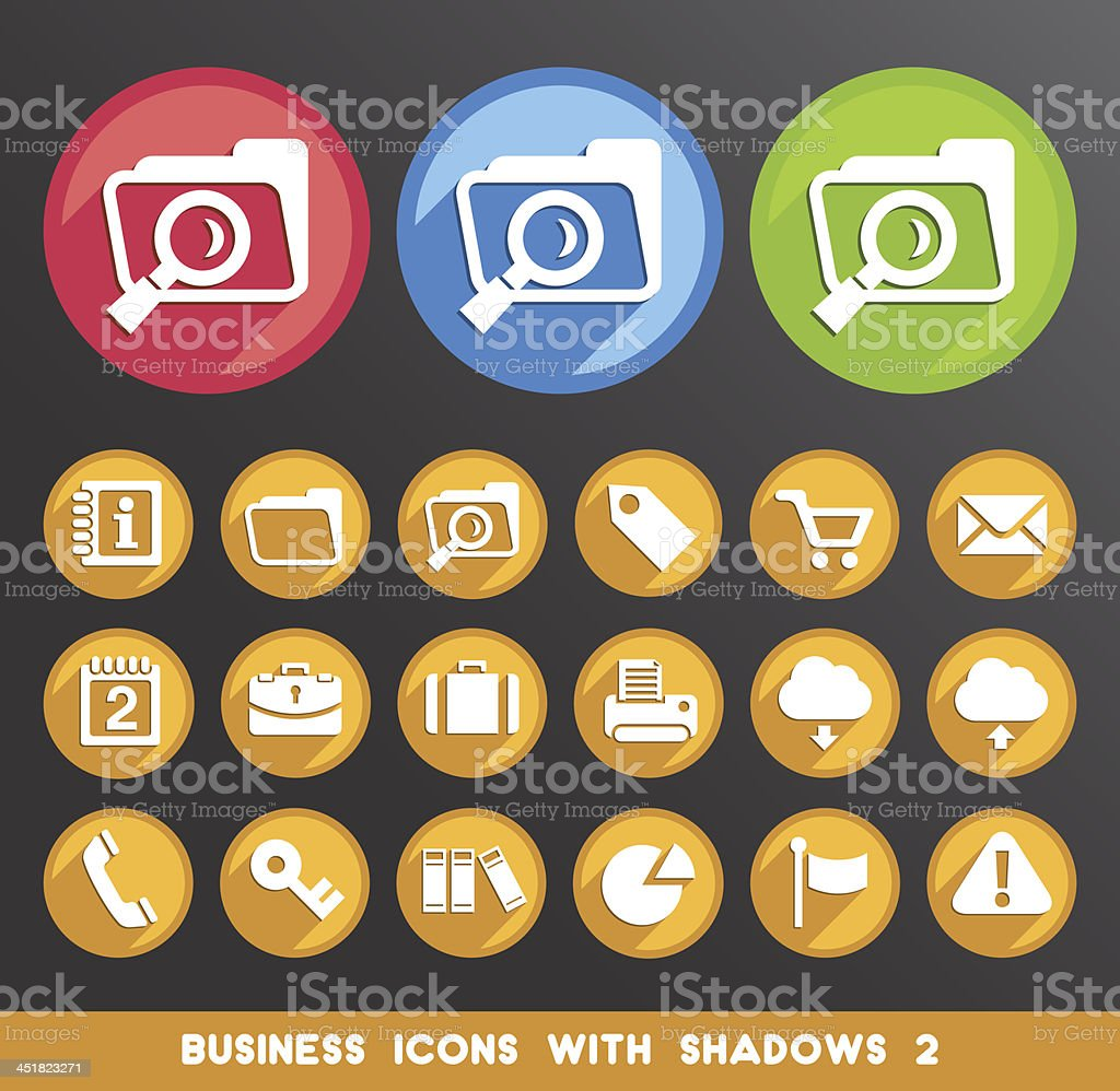 Business Icons with Shadows. vector art illustration