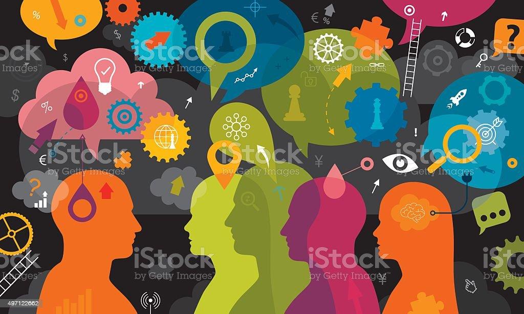 Business Idea Black Background vector art illustration