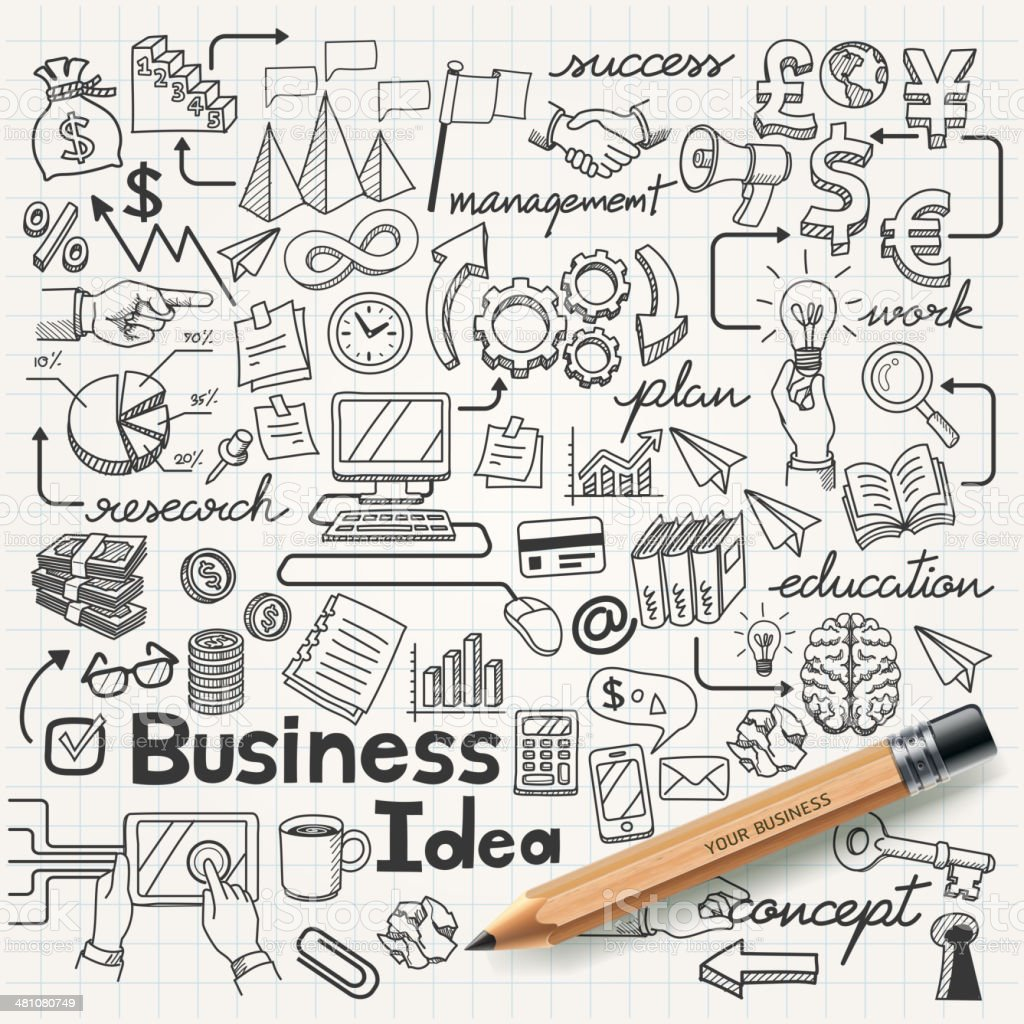 Business Idea doodles icons set. vector art illustration