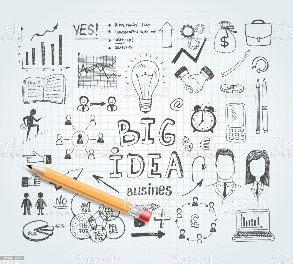 Business idea doodles vector art illustration