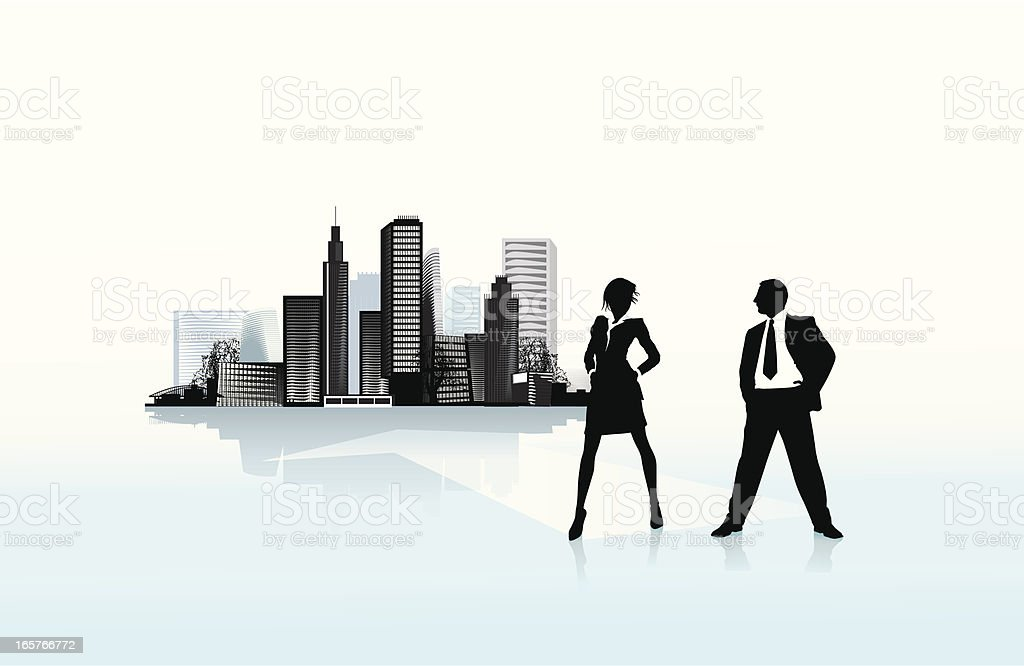 Business in the city vector art illustration