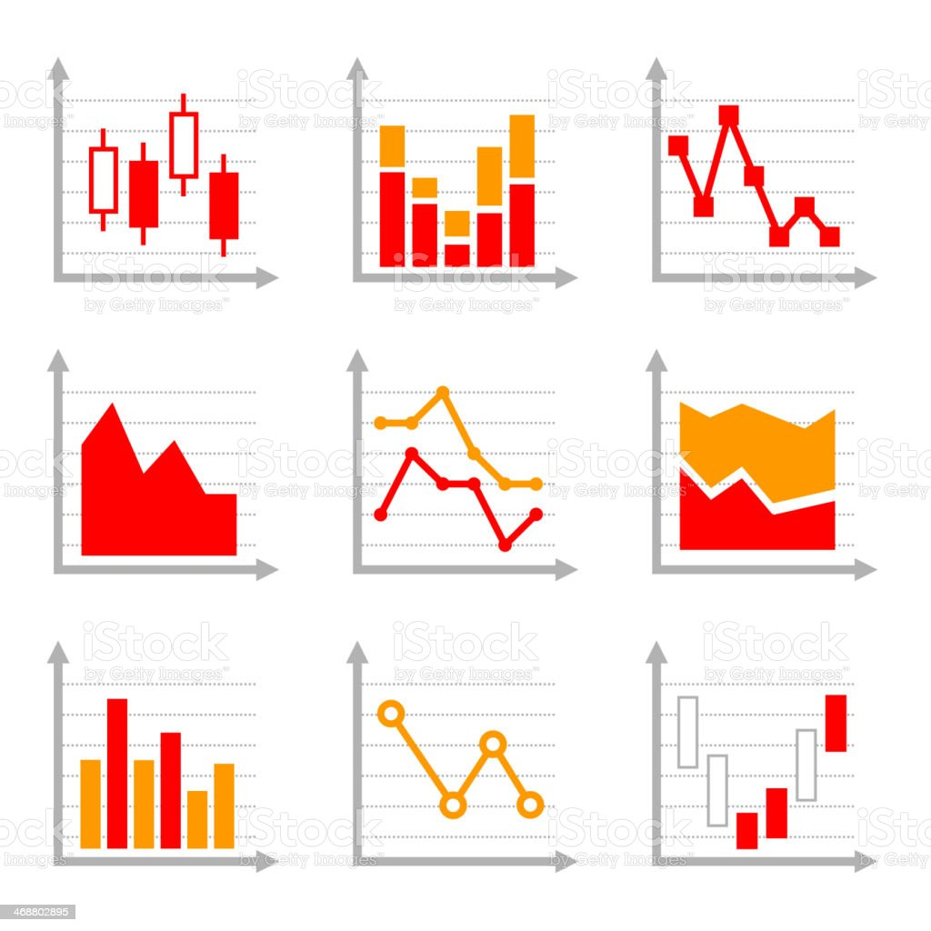 Business Infographic Colorful Charts and Diagrams Set 1 royalty-free stock vector art
