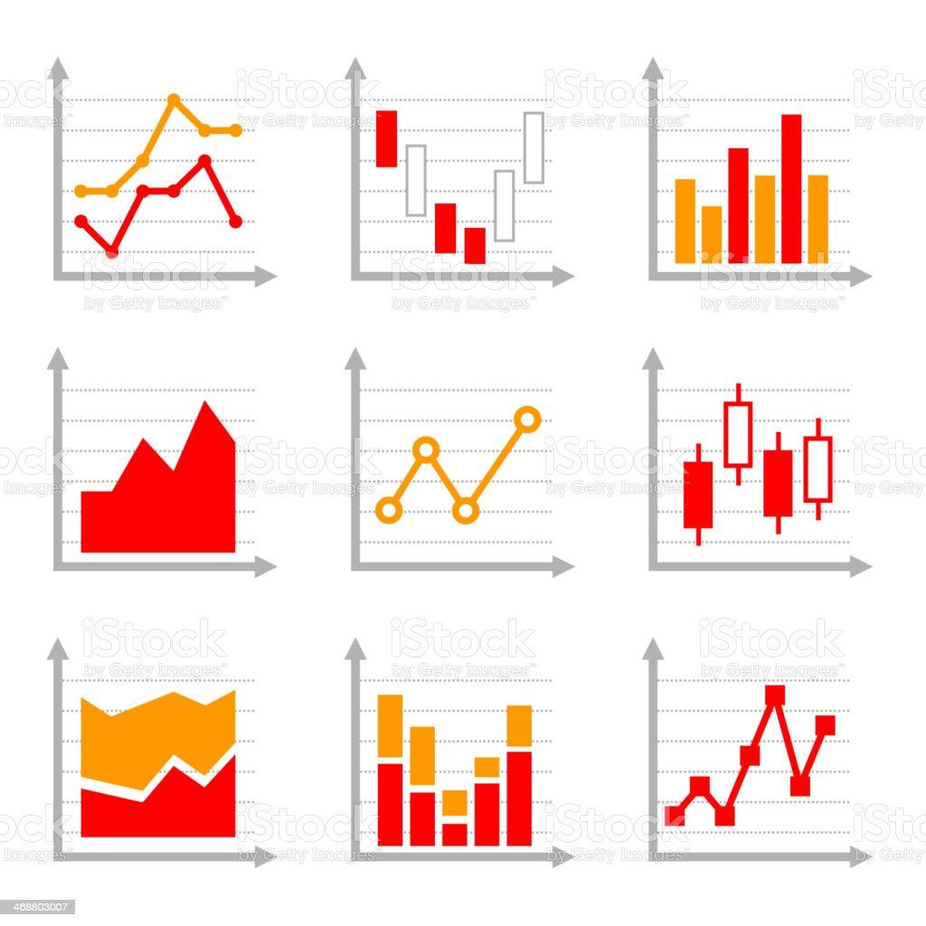 Business Infographic Colorful Charts and Diagrams Set 2. royalty-free stock vector art