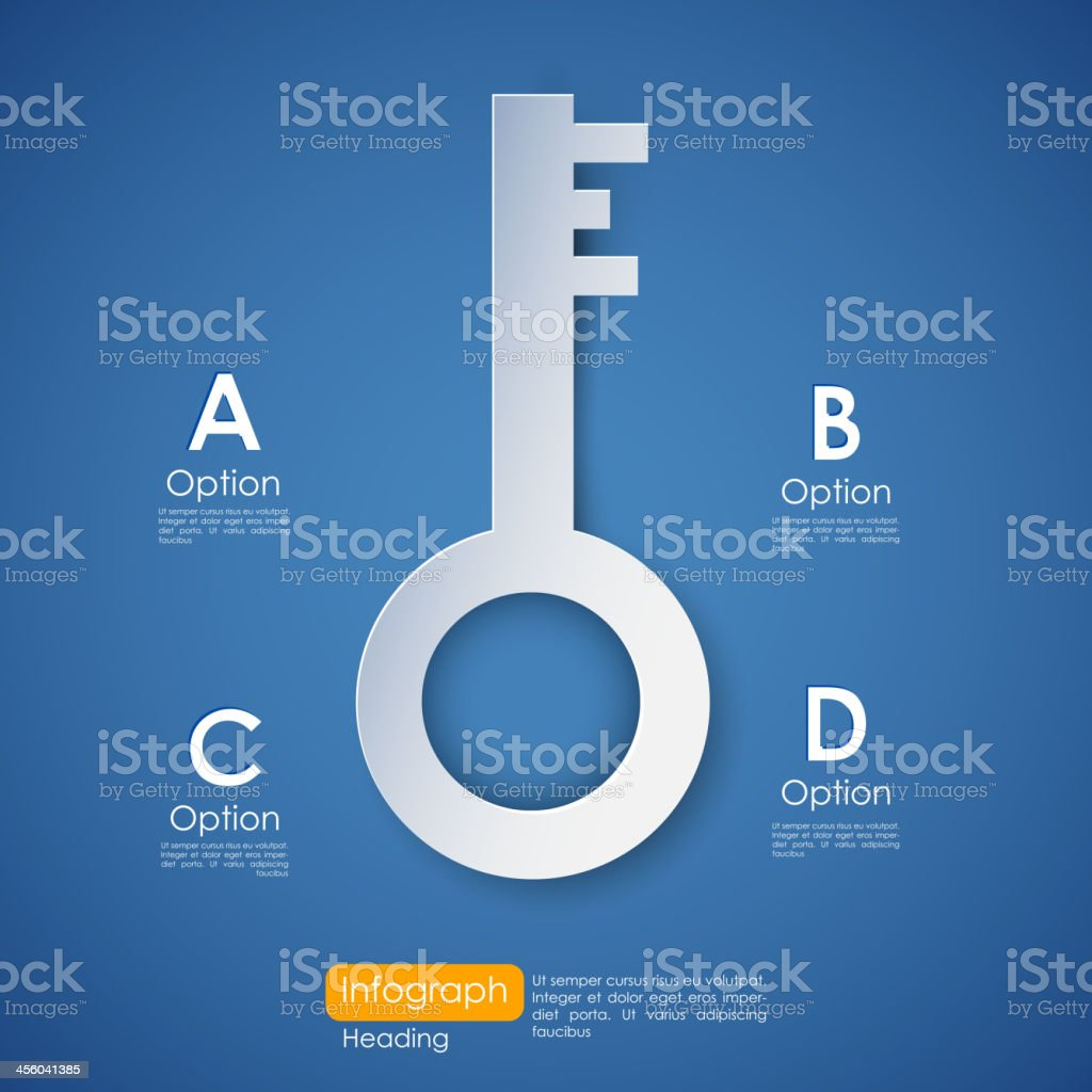 Business infographic of key to success vector art illustration