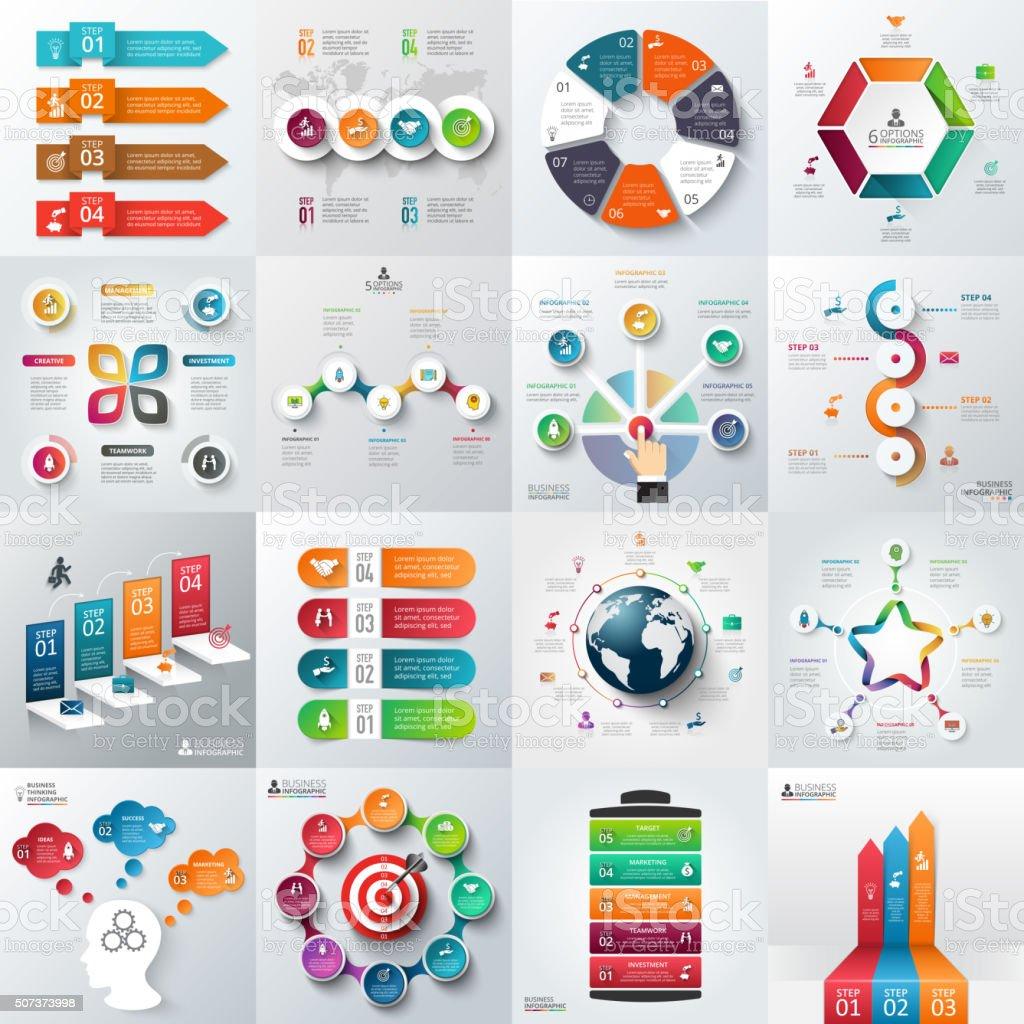 Business infographic template set. vector art illustration