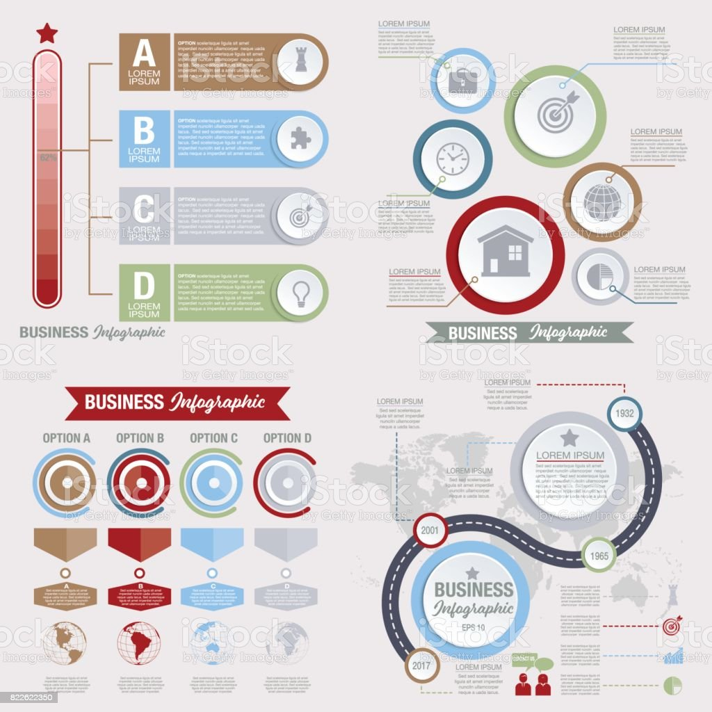 Business Infographic template With 3D Circles And Iocns vector art illustration