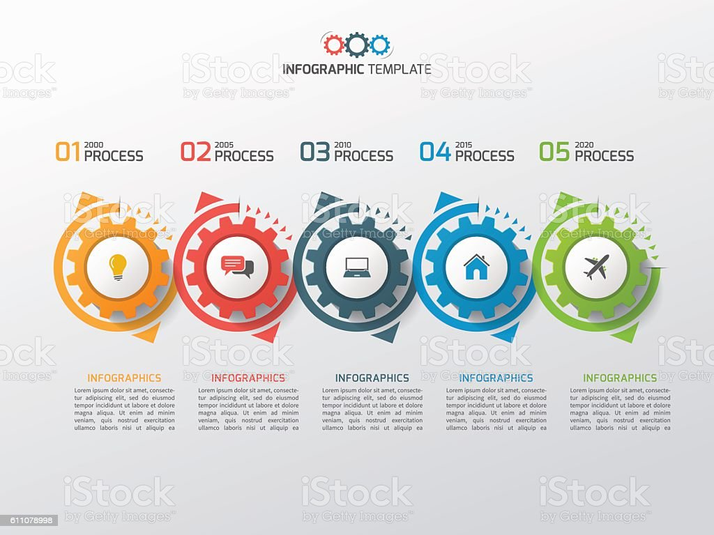 Business infographic template with gears cogwheels 5 steps royalty-free stock vector art