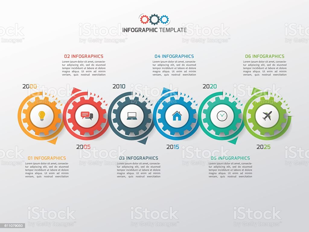Business infographic template with gears cogwheels 6 steps vector art illustration