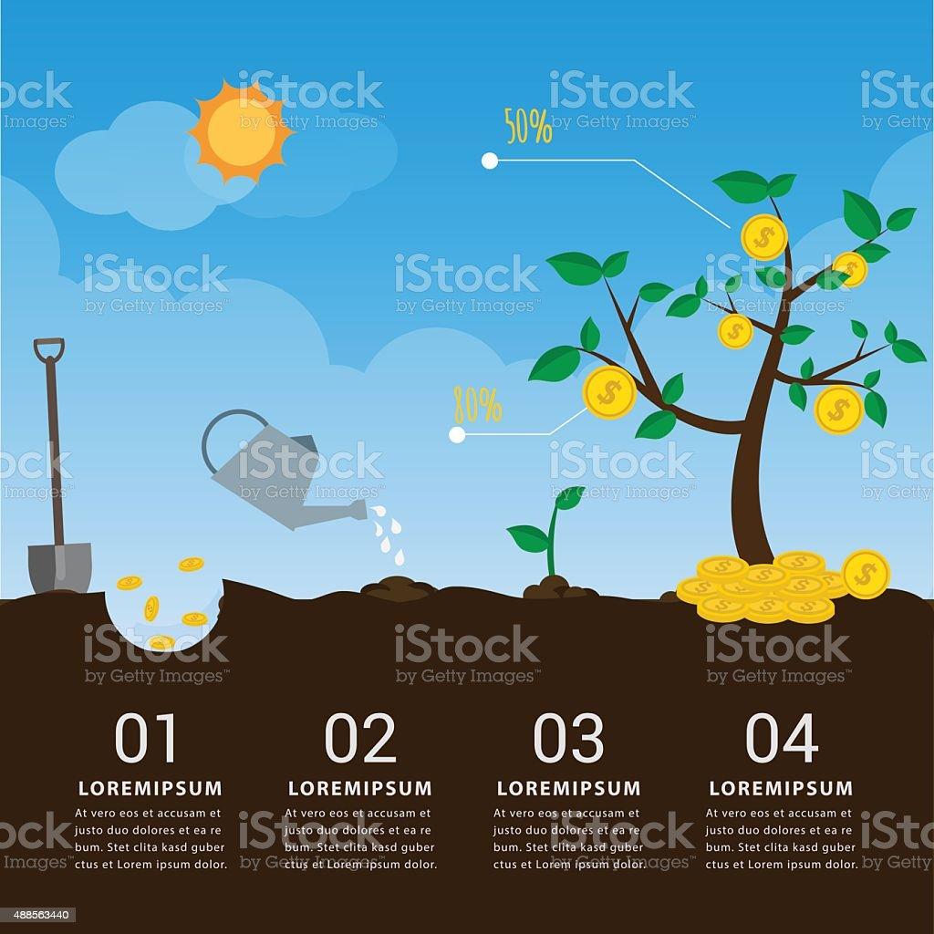 GROWTH MONEY business infographic vector art illustration