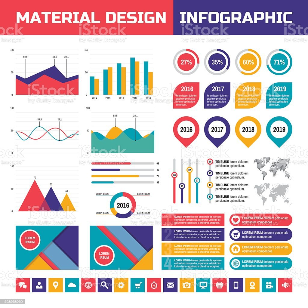 Business infographic vector set in material design style vector art illustration