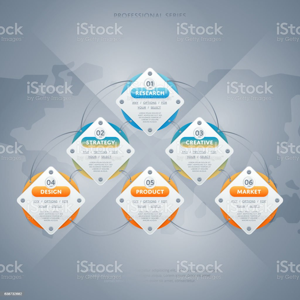 Business infographics concept with six stage vector art illustration