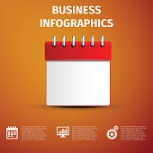 Business infographics icon. Calendar red isolated on grey background.