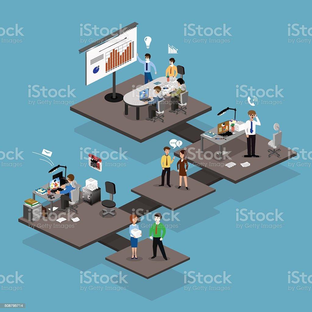 Business infographics isometrics vector art illustration