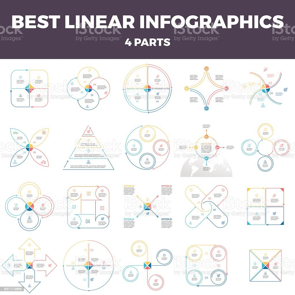 Business infographics. Linear infographic elements with 4 steps, options, parts. vector art illustration