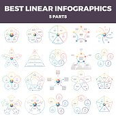 Business infographics. Linear infographic elements with 5 steps, options, parts.