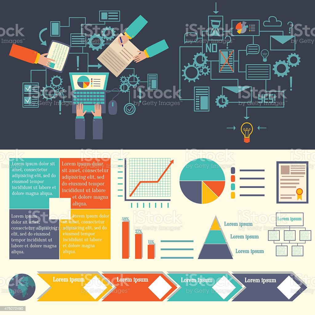 Business infographics: partnership. Vector flat illustrations and set of element vector art illustration