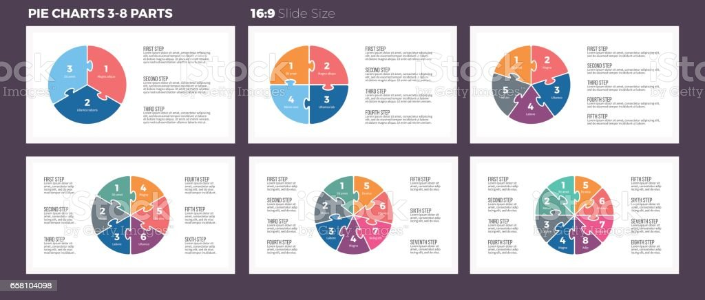 Business infographics. Pie charts with 3-8 steps, sections. vector art illustration