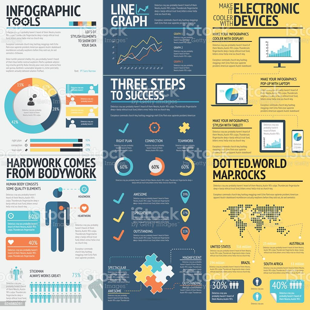 Business infographics vector elements in 3 flat business colors vector art illustration