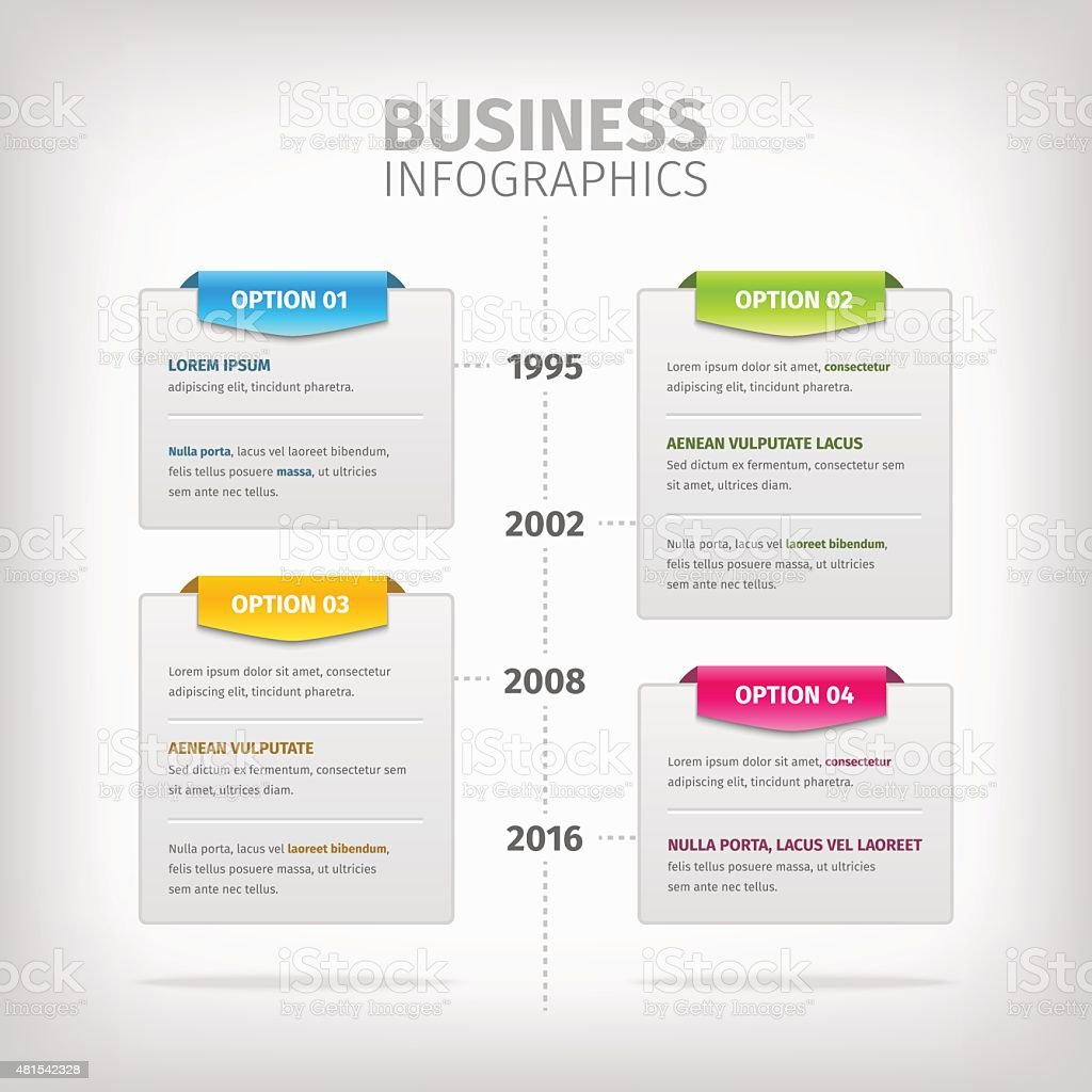 Business infographics with soft gray boxes and colorful tags vector art illustration