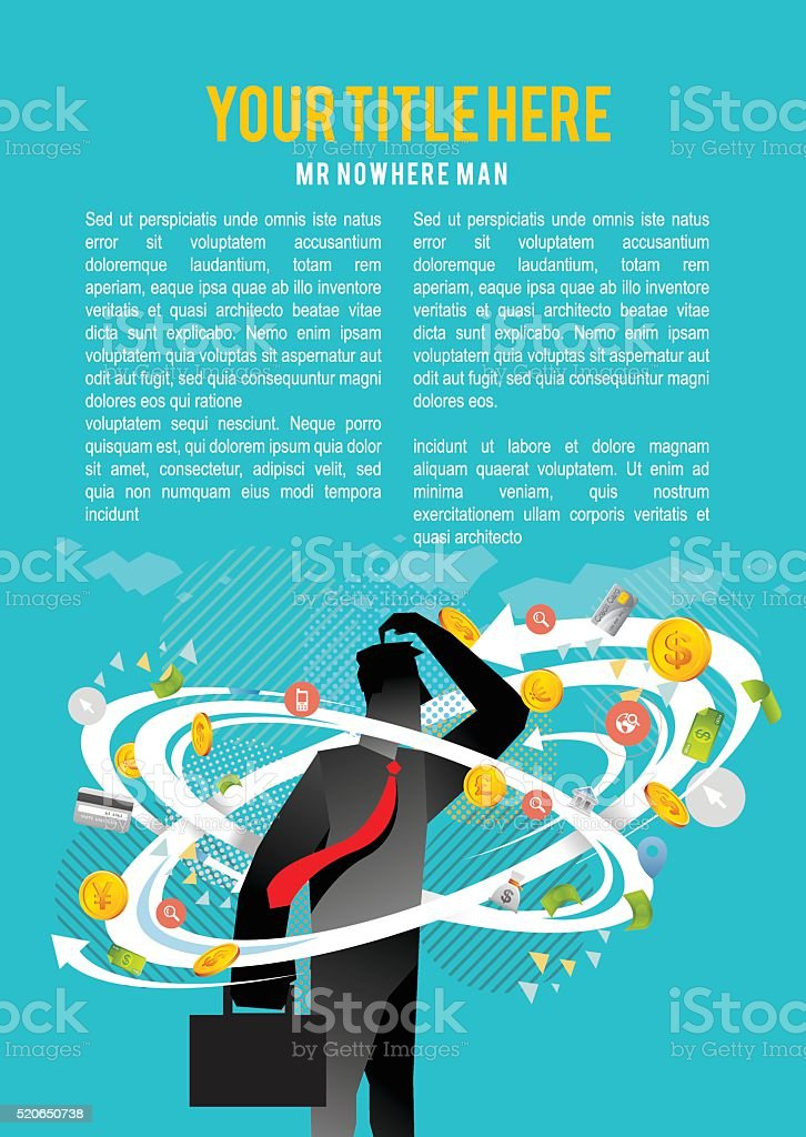 Business insecurity copy space vector art illustration