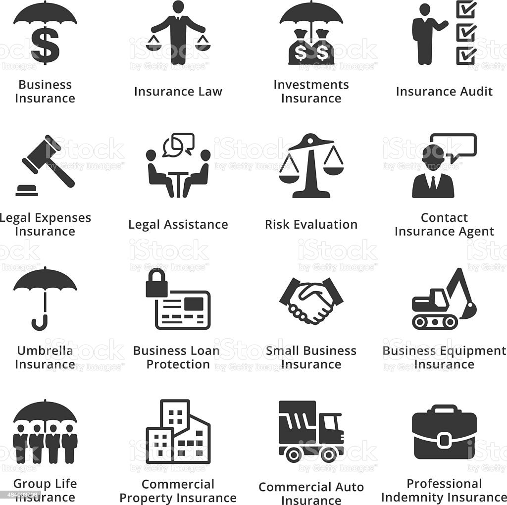 Business Insurance Icons vector art illustration