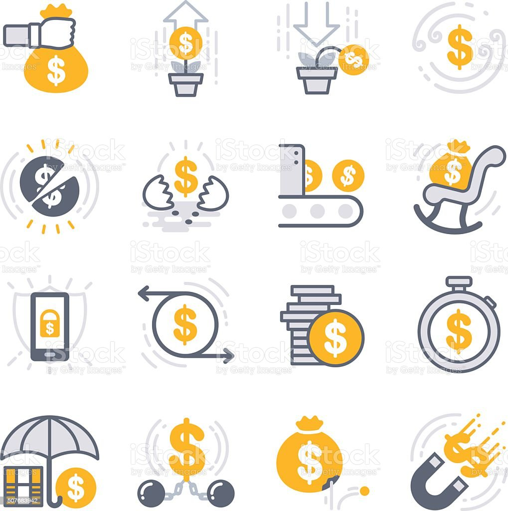 Business Investing icons vector art illustration