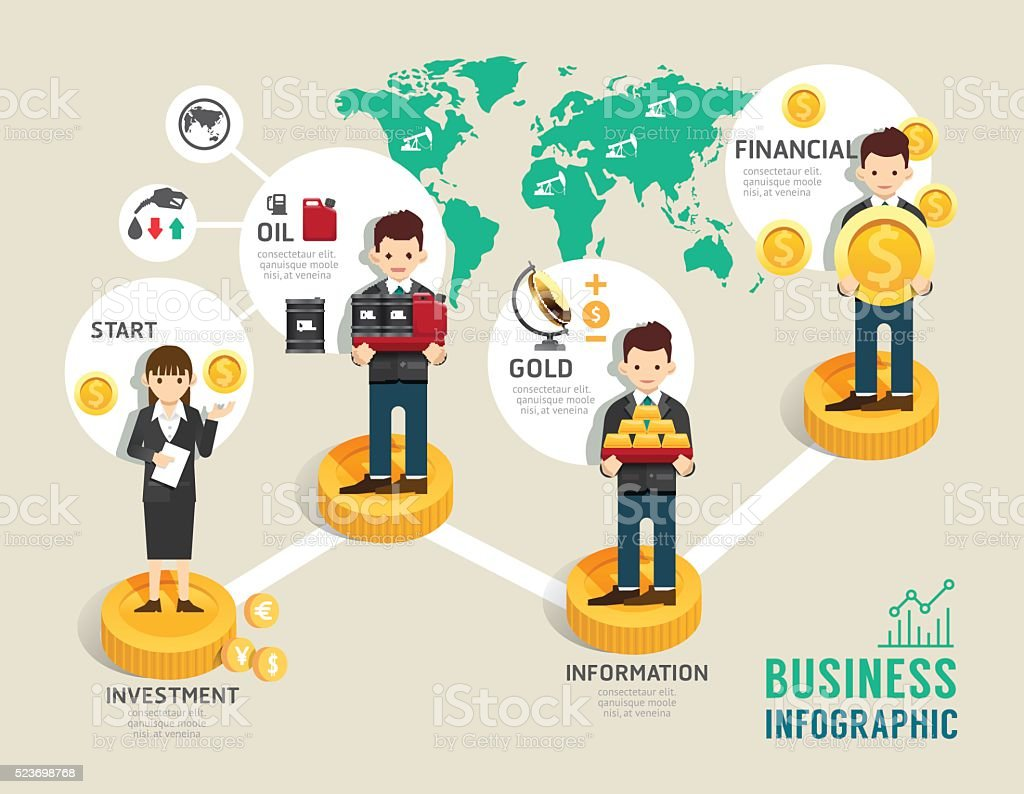 Business investment funds board game concept infographic startup vector art illustration