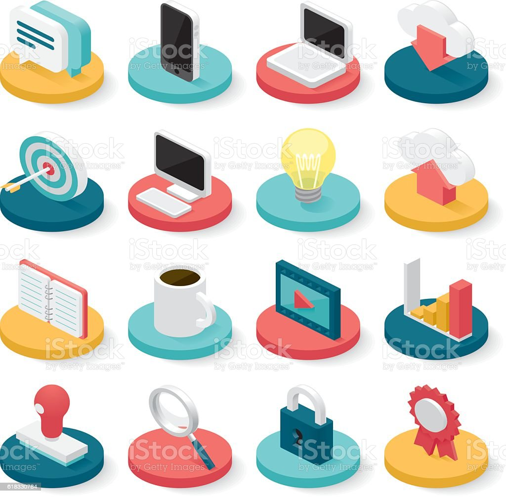 business isometric icons vector art illustration