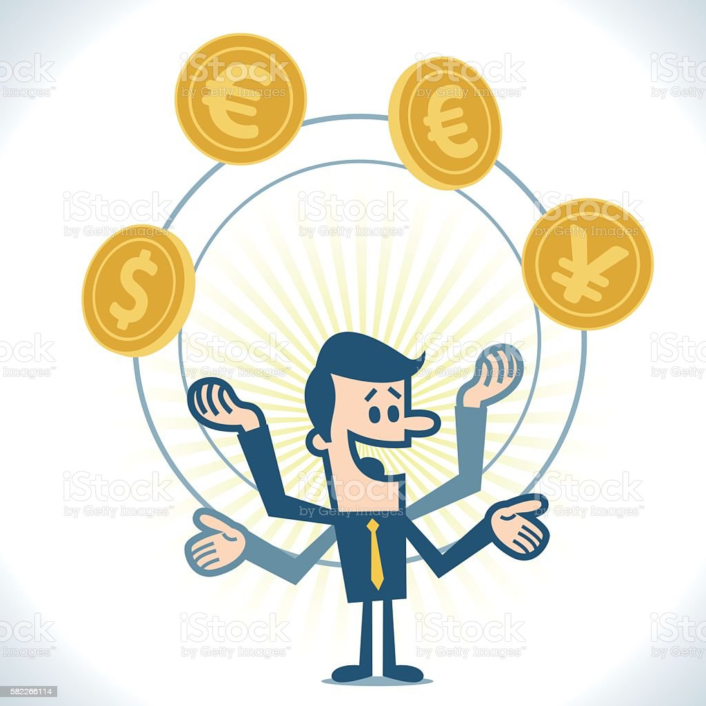 Business juggling with gold coins vector art illustration