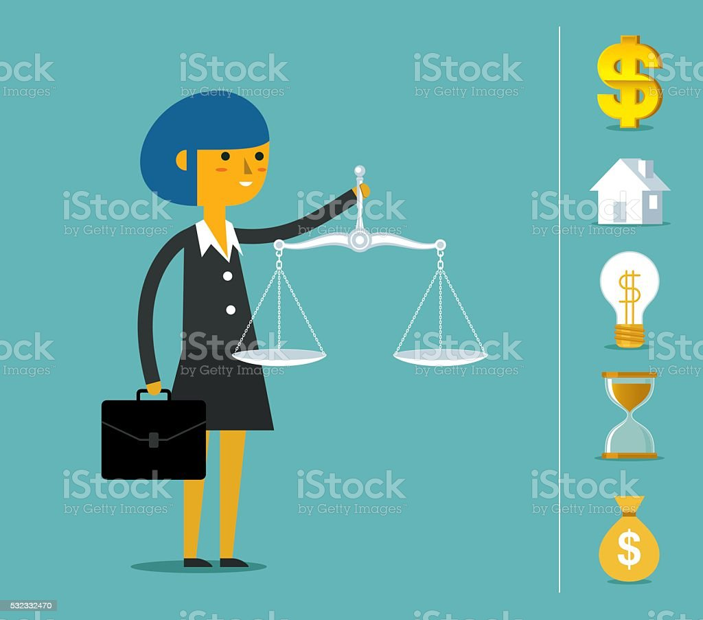 Business justice scales vector art illustration