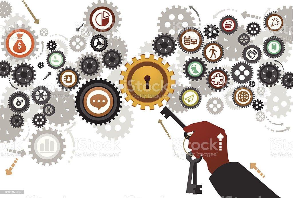 Business Key vector art illustration