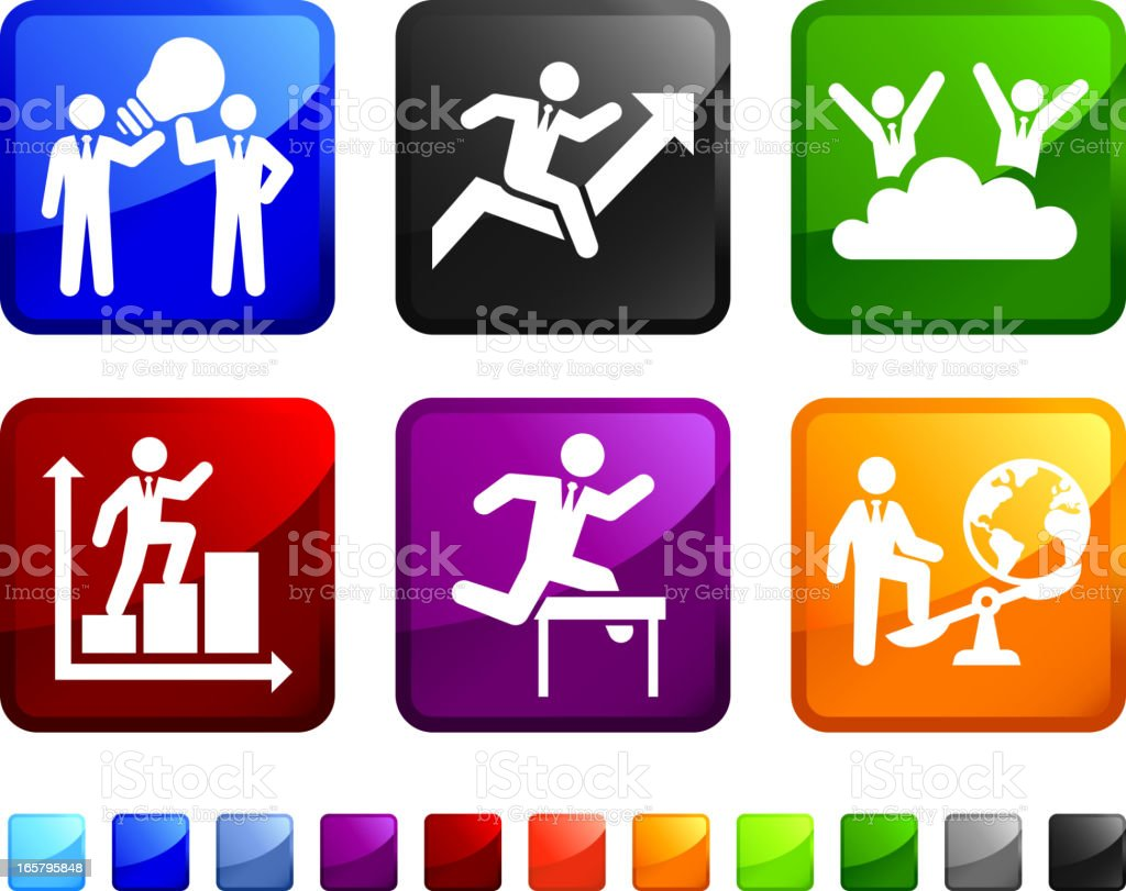 Business Ladder to Success royalty free vector icon set stickers vector art illustration