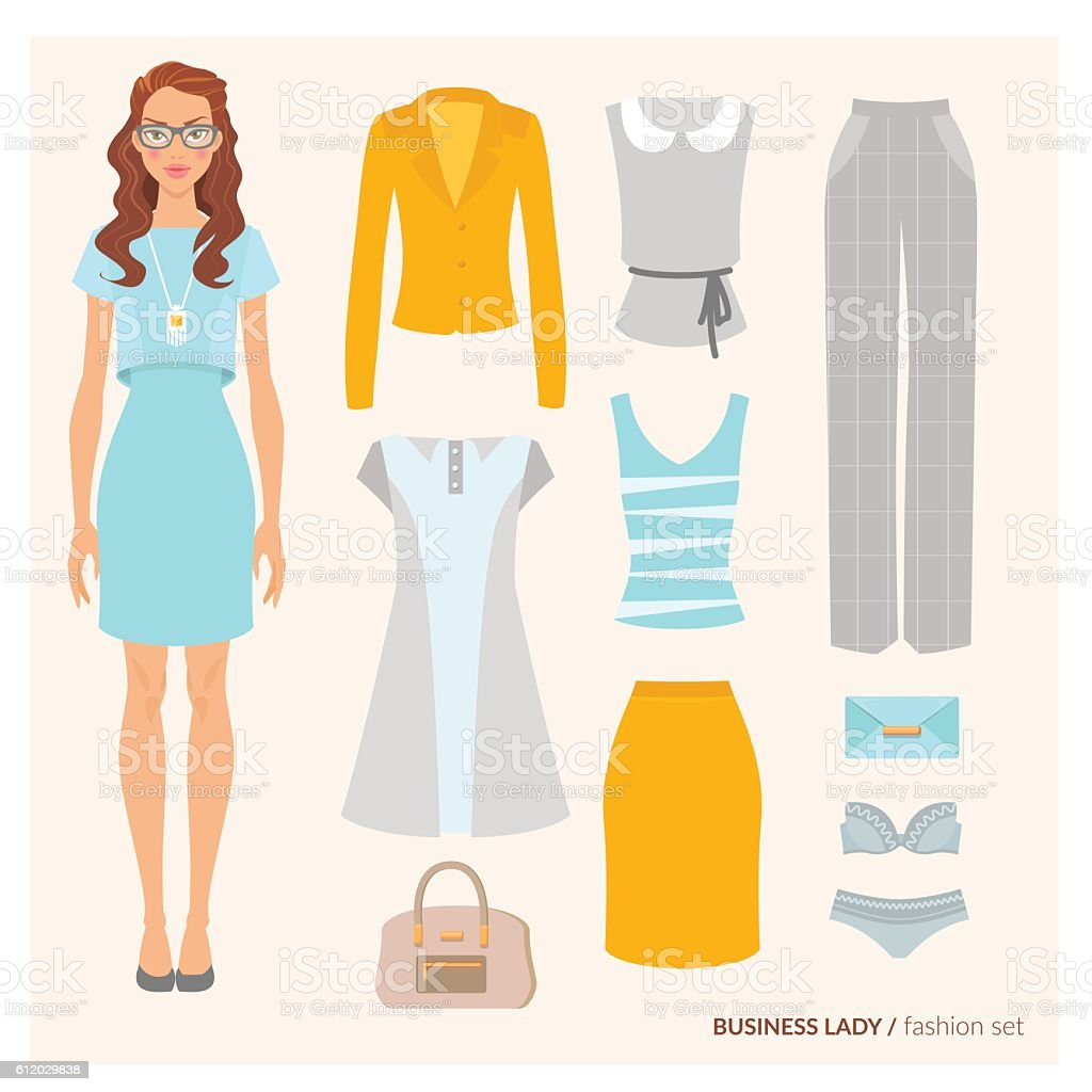Business lady. Fashion set vector art illustration