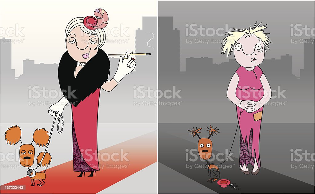 Business lady in economic crisis royalty-free stock vector art