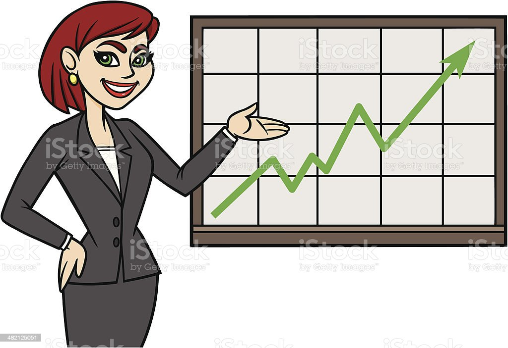 Business Lady With Chart royalty-free stock vector art