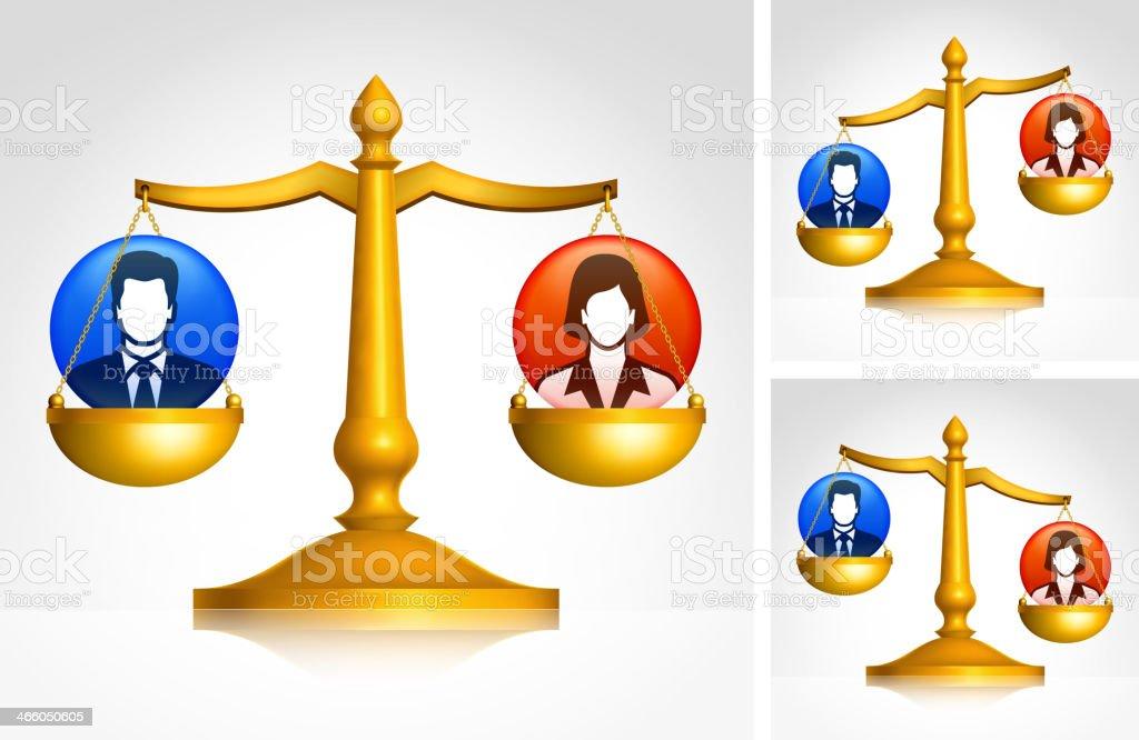 Business Lawsuit Scale Set vector art illustration