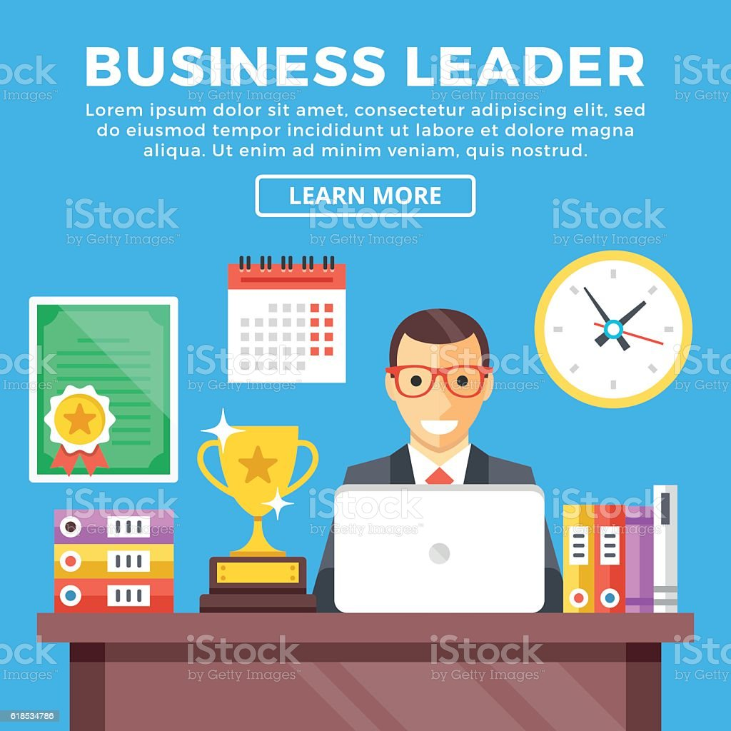 Business leader, corporate leadership, top manager. Modern flat vector illustration vector art illustration