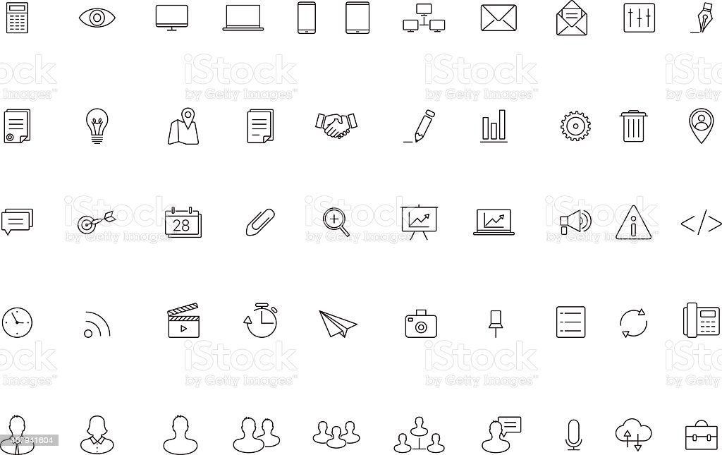 Business Line Icon Set,Vector vector art illustration