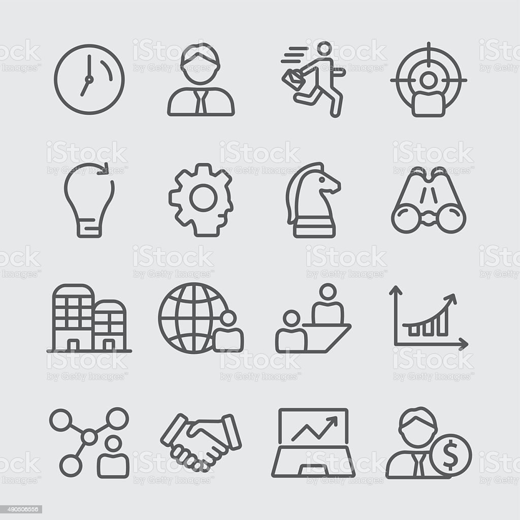 Business line icon vector art illustration