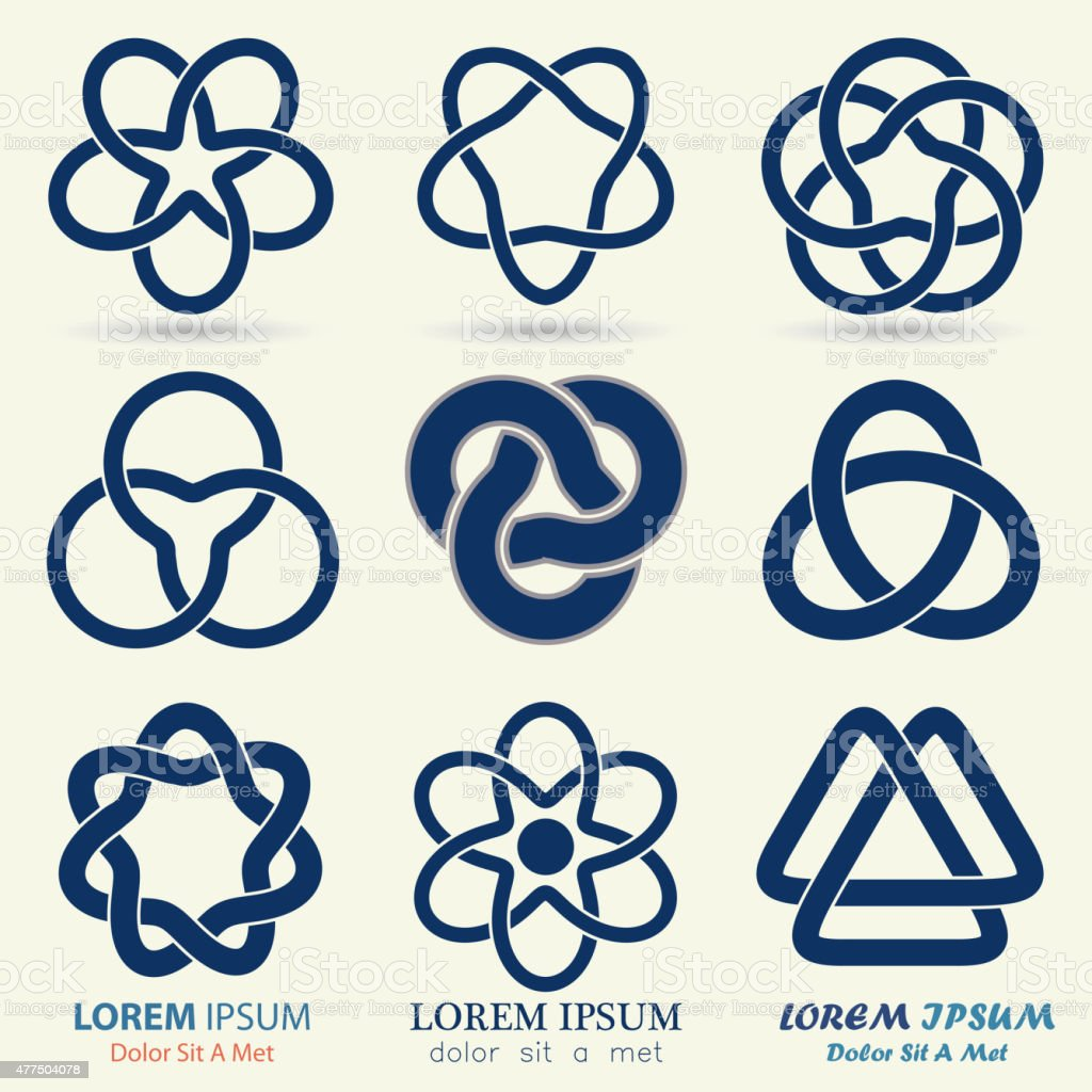 Business logo set, blue knot symbol vector art illustration