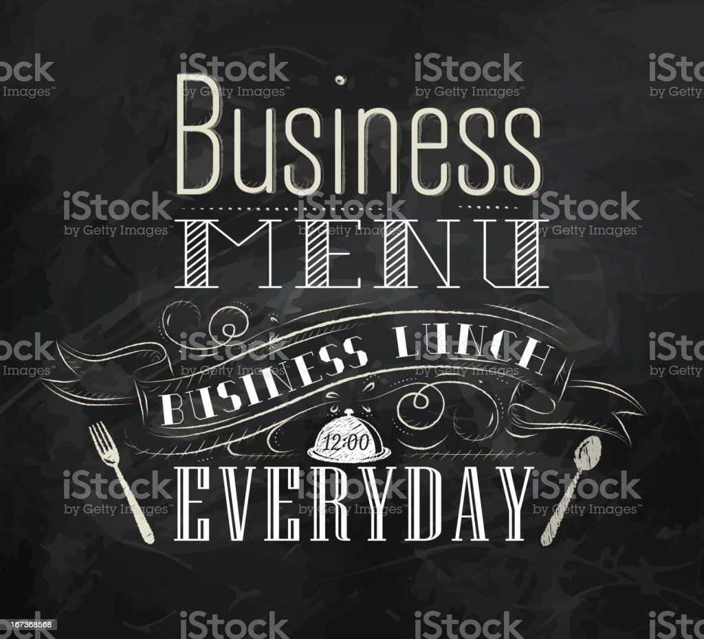 Business lunch ?halk board menu royalty-free stock vector art