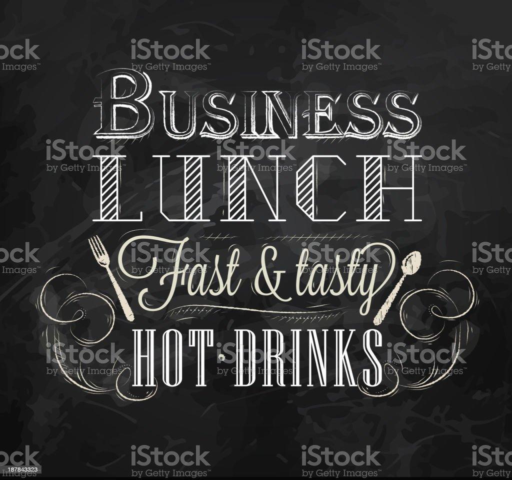 Business lunch Сhalk board royalty-free stock vector art